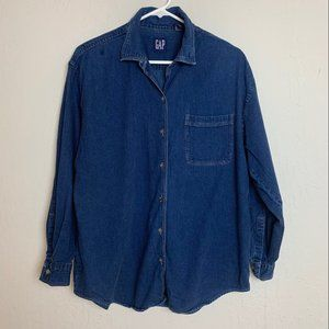 Women's GAP Sz M Dark Blue Cotton Denim Shirt